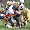 (Brad Davis/The Register-Herald) Panthers quarterback Jerrett Ellison is gang tackled by most of the Shady Spring defensive front during the Tigers' homecoming win over visiting PikeView Saturday afternoon.