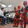 (Brad Davis/The Register-Herald) Deadpool trio Cubby (dog), eight-year-old Devin and mother Heather Canterberry of Beckley take their turn walking before the judges during the Humane Society of Raleigh County's Howloween event Saturday afternoon inside the Beckley Plaza Mall.