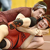 (Brad Davis/The Register-Herald) Woodrow Wilson's Colton Wright takes on St. Albans' Andrew Vickers in a 220-pound weight class matchup during the Class AAA Regionals Saturady afternoon at Woodrow Wilson High School. Beckley's Wright won the match.