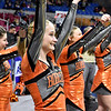 (Brad Davis/The Register-Herald) Summers County cheerleaders pull for their classmates on the court Friday night at the Charleston Civic Center.