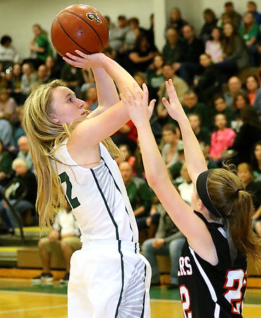 (Brad Davis/The Register-Herald) Wyoming East's Gabby Lupardus pulls up for a jumper as PikeView defender Skylar Angell steps up Thursday night in New Richmond.