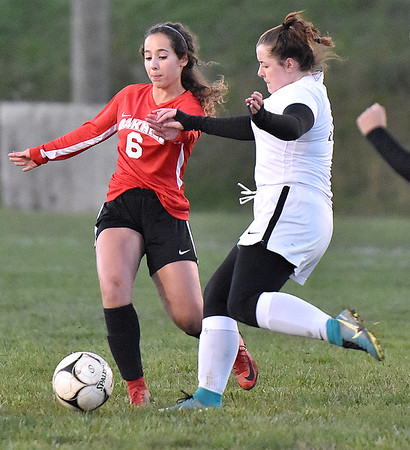 (Brad Davis/The Register-Herald) PikeView's Sarah Stamper steps up on defense against Oak Hill's Georgia White Wednesday night in Oak Hill.