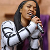 (Brad Davis/The Register-Herald) Miah Cox sings during Heart of God Ministries' One Voice One Sound Celebration of Gospel Sunday evening at the Kanawha Street Church. The jam-packed musical event was put together by the church's Soul to Soul Ministry and featured a large gathering of singers, psalmists, poets and other gospel talents from around the state.