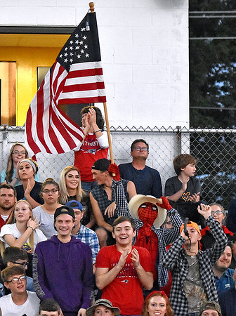 (Brad Davis/The Register-Herald) Visiting Indy students support their classmates on field Thursday night in Shady Spring.
