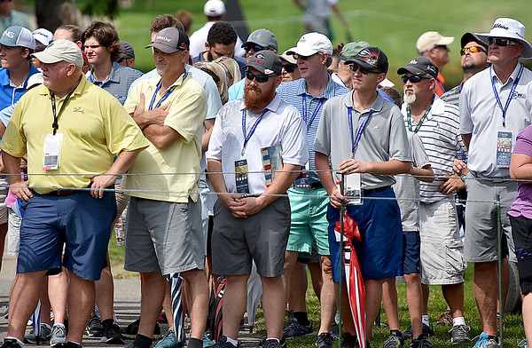 (Brad Davis/The Register-Herald) A hoard of fans watch eagerly as they follow household name Bubba Watson around during the second round of the Military Tribute at The Greenbrier Thursday afternoon in White Sulphur Springs.