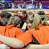 (Brad Davis/The Register-Herald) Summers County players come together prior to the start of the state tournament Thursday night at the Charleston Civic Center.