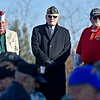 (Brad Davis/The Register-Herald) Veterans (from left) William Cusson (Navy), Mack Skaggs (Army), and Gary Parker (Navy) look on as they and fellow servicemen and women are honored during the 5th Annual Healing Fields Ceremony Sunday at the Raleigh County Veterans Museum.