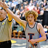 (Brad Davis/The Register-Herald) Independence's Alex Hart is declared a winner Friday night at the Big Sandy Arena.