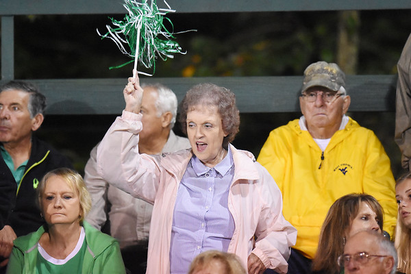 A Fayetteville fan cheers on her side during their high school football game against Sherman Friday in Fayetteville. (Chris Jackson/The Register-Herald)