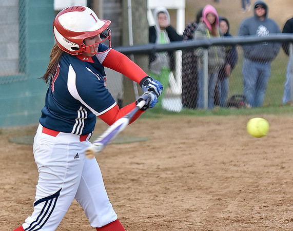 (Brad Davis/The Register-Herald) Independence's Ashleigh Sexton singles during the 5th inning of the Patriots' win over Fayetteville Wednesday afternoon at Fayetteville Town Park.