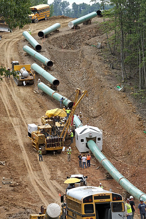 Sections of pipe for the Mountain Valley Pipeline are assembled near Lindside in Monroe County Wednesday. (Jenny Harnish/The Register-Herald)