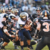 Shady Spring's Hunter Sturgill (8) is tackled by Summers County's Kaleb Vaughn (71) <br /> during their high school football game Friday in Hinton. (Chris Jackson/The Register-Herald)