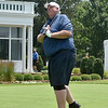 (Brad Davis/The Register-Herald) Governor Jim Justice watches his tee shot as he begins his Pro-Am round Wednesday afternoon in White Sulphur Springs.