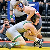 (Brad Davis/The Register-Herald) Fayetteville's Trent Pullens takes on Indy's Connor Gibson during State Wrestling Tournament action Saturday night at the Big Sandy Arena.