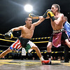 "(Brad Davis/The Register-Herald) Rodolfo Cerda reaches out to catch opponent Robert Laughery with a left jab during their match in the ""Original"" Toughman Contest Saturday night at the Beckley-Raleigh County Convention Center."