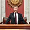 (Brad Davis/The Register-Herald) Speaker of the House Tim Armsteadposes for a quick photo at his speaker's podium during a Register-Herald visit to his office March 22 at the State Capitol Complex.