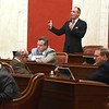 Senate president Mitch Carmichael addresses the Senate floor talking about the teachers pay raise bill. <br /> (Rick Barbero/The Register-Herald)