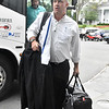 (Brad Davis/The Register-Herald) Houston Texans head coach Bill O'Brien exits the bus as his team arrives at the Greenbrier Resort hotel Wednesday afternoon in White Sulphur Springs.