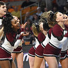 Woodrow Wilson cheerleaders performing after the first quarter during game against Martinsburg in the quarter-final game of the Class AAA Boys State Basketball Tournament held at the Charleston Civic Center. Martingburg won 58-48<br /> (Rick Barbero/The Register-Herald)
