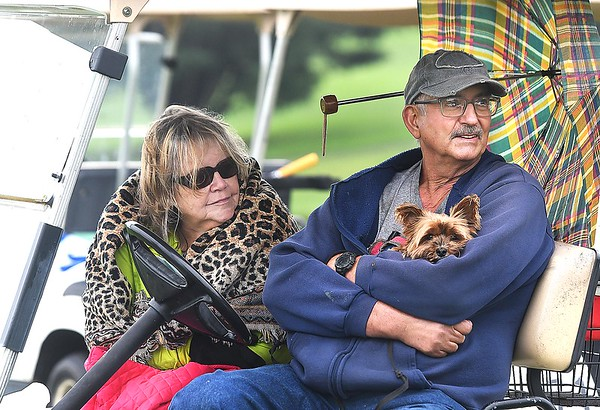 Delilah and Willard Bromfield with their dog Zoe, of Saulsville, watch their grandson, Ethan Bradford, of Wyoming East, play in the Class AA Region 3 golf tournament held at Grandview Country Club in Beaver Monday afternoon. Zoe has attended most of the Wyoming East matches with the Bromfield's<br /> (Rick Barbero/The Register-Herald)