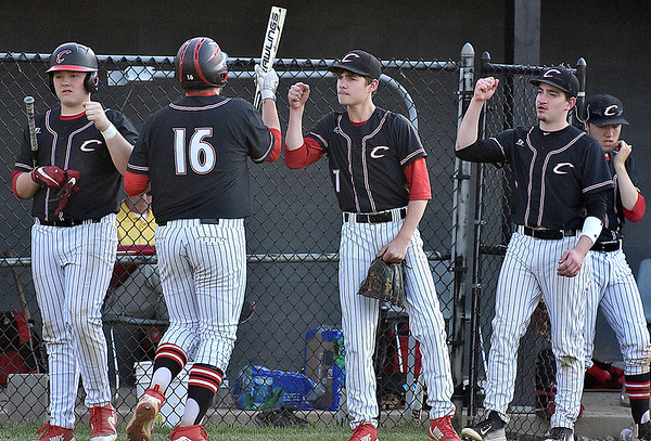 (Brad Davis/The Register-Herald) Greater Beckley Christian players celebrate a productive inning against Summers County Friday evening at Park Middle School.