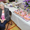 (Brad Davis/The Register-Herald) Lifelong Bradley resident Lula Thompson is all smiles as she poses for photos being taken the many friends and family in attendance during her 100th birthday celebration Saturday afternoon at Bradley Free Will Baptist Church.