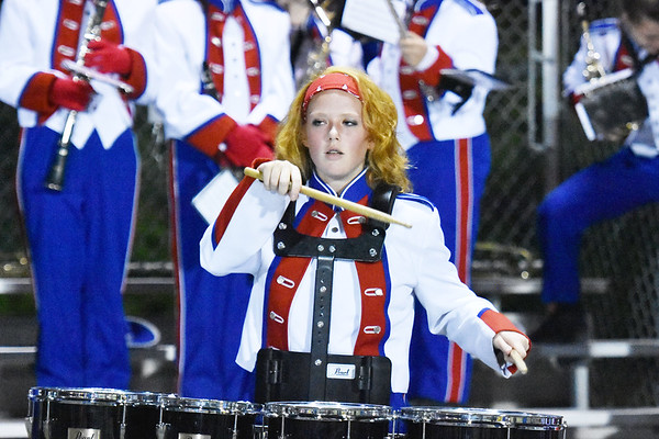 A Midland Trail band member performs during their high school football game against Fayetteville Friday in Fayetteville. (Chris Jackson/The Register-Herald)