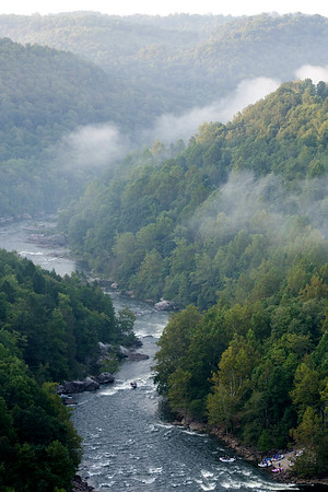 Rafts at the put-in for the Upper Gauley River on opening weekend. The Upper Gauley will run every Friday-Monday for 5 weeks and then Saturday and Sunday the following week, starting Friday, September 7. Chad Foreman for the Register-Herald.