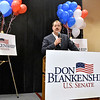 (Brad Davis/The Register-Herald) Republican U.S. Senate candidate Don Blankenship gives supporters an update during his results party Tuesday night at the Charlseton Marriott.