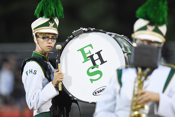 A Fayetteville band member plays during their pre-game before their high school football game against Sherman Friday in Fayetteville. (Chris Jackson/The Register-Herald)