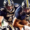 Jared Sagraves of Nicholas County carries the ball into the line of scrimmage. Chad Foreman for the Register-Herald.