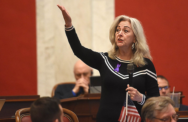 Senator Sue Cline, R-Wyoming, speaks about Senate Bill 267, increasing salaries of certain state employees. The Senate unanimously passed the bill that would increase teachers and certain state employees salaries by 1 percent.<br /> (Rick Barbero/The Register-Herald)