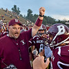 (Brad Davis/The Register-Herald) Woodrow Wilson head coach Street Sarrett gets his Flying Eagles fired up for Parkersburg Friday night in Beckley.