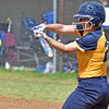 (Brad Davis/The Register-Herald) WVU Tech's Alexis Lopez makes contact and puts the ball in play against Ohio Christian during the second game of a doubleheader Friday afternoon at Woodrow Wilson High School.