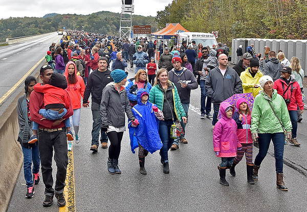 (Brad Davis/The Register-Herald) The crowd on the deck during Bridge Day Saturday morning in Fayetteville.