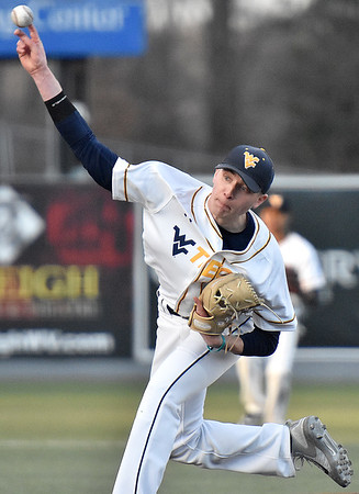 (Brad Davis/The Register-Herald) WVU Tech pitcher Ryan Bayle delivers against Lawrence Tech Sunday afternoon at Linda K. Epling Stadium.