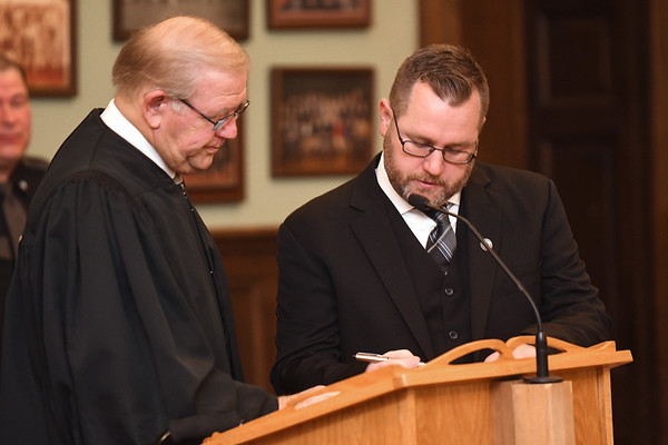 Tommy Ewing, was sworn in as the new Fayette County judge appointed by Governor Jim Justice, Ewing replaced John W Hatcher Jr. who recently retired. <br /> (Rick Barbero/The Register-Herald)