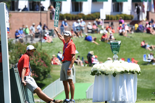 Trophy sits on the 18th tee box during A Military Tribute at The Greenbrier golf tournament held at The Greenbrier Resort in White Sulphur Springs.<br /> (Rick Barbero/The Register-Herald)
