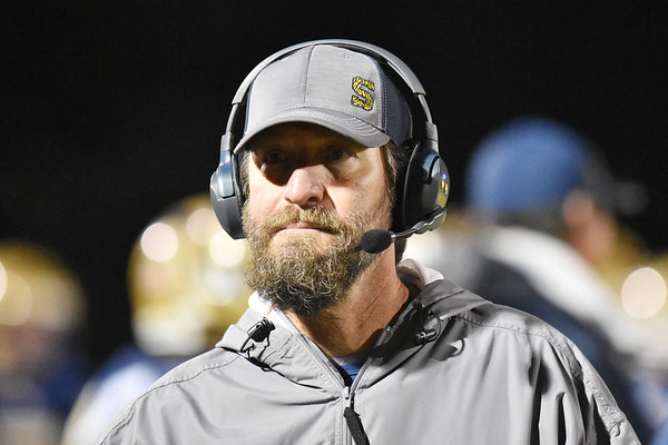 Shady Spring coach Vince Culicerto during their high school football game Friday in Shady Spring. (Chris Jackson/The Register-Herald)