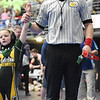Eastern Greenbrier's Bella Arbogast beat the Cougars Zeon Ward during their wrestling match as part of the WVYWA State Tournament in Beckley Saturday. (Chris Jackson/The Register-Herald)