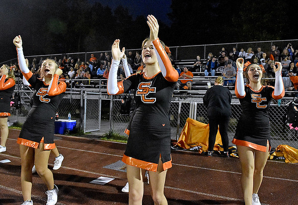 (Brad Davis/The Register-Herald) The Summers County cheerleading squad performs Friday night in Coal City.