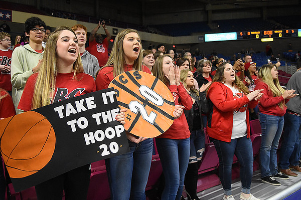 Greater Beckley Christian student section root for thr Crusaders against Tug Valley during the quarter-final game of the Class A Boys State Basketball Tournament held at the Charleston Civic Center. Tug Valley won 83-52<br /> (Rick Barbero/The Register-Herald)