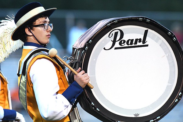 Member of the Greenbrier West band performs in game against Summers Co. at Greenbrier West High School in Charmco Friday night<br /> Rick Barbero/The Register-Herald)