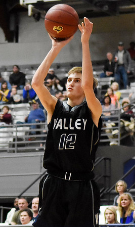 Valley's Lucca Giannini (12) puts up a jumper during their Big Atlantic Classic Tournament game against Van Monday in Beckley. (Chris Jackson/The Register-Herald)