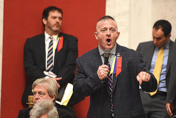Senator Richard Ojeda, D-Logan, addresses the Senate floor talking about the teachers pay raise bill. <br /> (Rick Barbero/The Register-Herald)