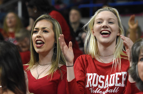 Greater Beckley Christian fans rooting for thr Crusaders against Tug Valley during the quarter-final game of the Class A Boys State Basketball Tournament held at the Charleston Civic Center. Tug Valley won 83-52<br /> (Rick Barbero/The Register-Herald)