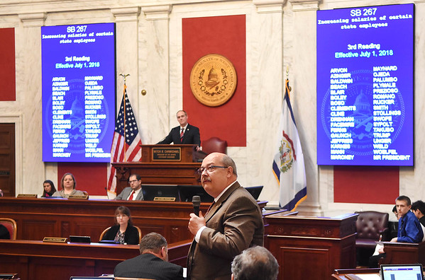 Senator Doug Facemire, D-Braxton, speaks about Senate Bill 267, increasing salaries of certain state employees. The Senate unanimously passed the bill that would increase teachers and certain state employees salaries by 1 percent.<br /> (Rick Barbero/The Register-Herald)