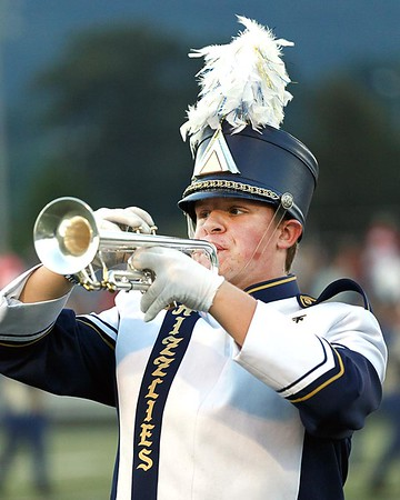 A Nicholas County Grizzly trumpeter perfomrs before the game. Chad Foreman for the Register-Herald.