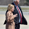 (Brad Davis/The Register-Herald) West Virginia Governor Jim Justice and U.S. Representative Shelley Moore Capito await President Donald Trump's arrival Thursday afternoon at Greenbrier Valley Airport.