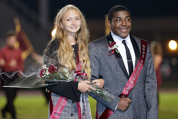 Homecoming Court members await the announcement of the Queen. Chad Foreman for the Register-Herald.